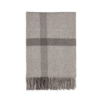 Johnstons Of Elgin Simple Check Cashmere Throw Grey