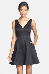 Erin Fetherston 'Veronica' Back Bow Detail Jacquard Fit And Flare Dress Black