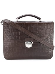 Orciani Classic Top Handle Briefcase Brown