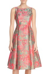 Petite Women's Adrianna Papell Metallic Jacquard Fit And Flare Dress