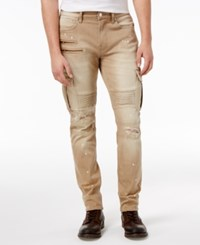 Guess Men's Slim Fit Tapered Pin Tuck Moto Jeans Burnt Khaki Wash W Destroy