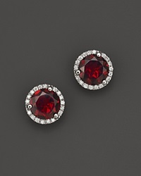 Bloomingdale's Garnet And Diamond Halo Stud Earrings In 14K White Gold Red White
