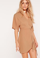 Missguided Kimono Wrap Over Belted Mini Dress Nude Beige