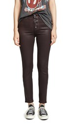Paige Hoxton Slim Jeans With Exposed Buttons Chicory Coffee