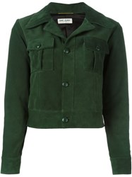 Saint Laurent Cropped Leather Jacket Green