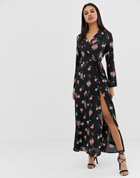 Prettylittlething Wrap Maxi Dress In Floral Print Black