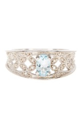 Sterling Silver Pave Diamond And Aquamarine Filigree Ring Metallic