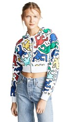 Alice Olivia X Keith Haring Barron Cropped Wide Sleeves Hoodie Soft White Multi