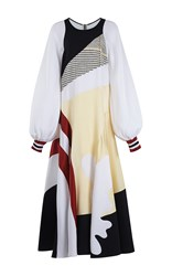 Roksanda Ilincic Astal Long Sleeve Dress White Black Yellow