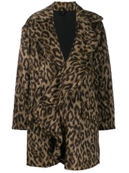 Unravel Project Leopard Print Ruffled Coat Brown