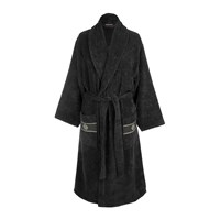 Roberto Cavalli Gold Shawl Bathrobe Black