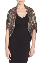 Women's Collection Xiix Scalloped Sequin Wrap Metallic Rose Gold