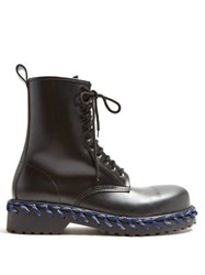 Balenciaga Leather Boots With Lacing Detail Black