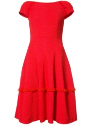 Talbot Runhof Frayed Trim Dress Red