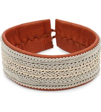 Maria Rudman Pewter Woven Wide Bracelet Tan Copper Pewter