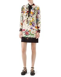 Gucci Floral Print Silk Dress Black Multi Colored