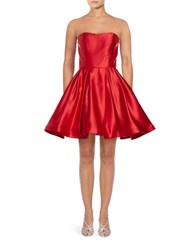 Betsy And Adam Satin Fit Flare Dress Red