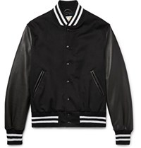 Golden Bear Leather And Wool Bomber Jacket Black