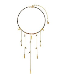 Nakamol Beaded Fringe Choker Necklace Gray
