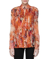 J. Mendel Printed And Pleated Chiffon Blouse 2