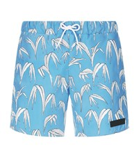 Sandro Palm Print Swim Shorts Blue