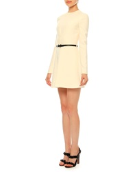 Valentino Belted Long Sleeve Wool Silk Crepe Dress Ivory Avorio