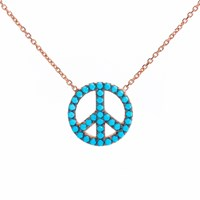 Lucky Eyes Turquoise Peace Symbol Necklace Rose Gold