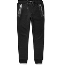 Marc By Marc Jacobs Luke Leather Trimmed Cotton Blend Jersey Sweatpants Black