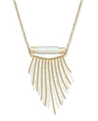 Inc International Concepts Gold Tone Cord Wrapped Fringe Long Length Necklace Only At Macy's White