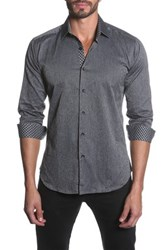 Jared Lang Long Sleeve Contrast Trim Semi Fitted Shirt Gray