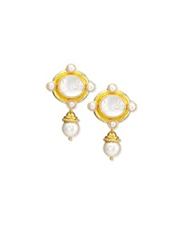 Cabochon Quadriga Pearl Drop Earrings Elizabeth Locke
