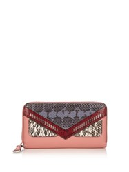 Fendi Bag Bugs Zip Around Leather And Watersnake Wallet Pink Multi