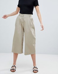 Monki Cropped Wide Leg Trousers In Beige