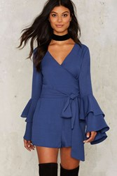 Tier Of Life Wrap Romper Blue