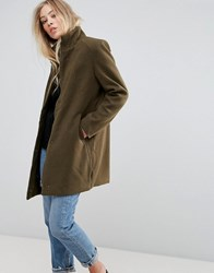 B.Young Funnel Neck Coat Olive Green