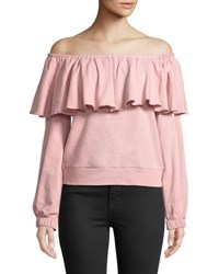 Romeo And Juliet Couture Off The Shoulder Ruffle Sweatshirt Pink