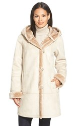 Petite Women's Gallery Hooded Faux Shearling A Line Coat Latte