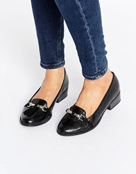 New Look Croc Effect Buckle Detail Loafer Black