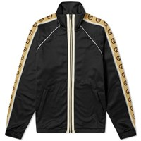 Gucci Technical Jersey Taped Logo Zip Track Jacket Black