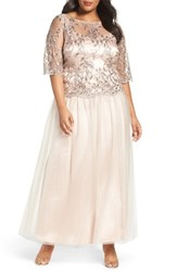 Brianna Plus Size Women's Embellished Mesh Gown Champagne