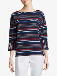 Betty Barclay Ribbed Button Striped Jersey Top Dark Blue Red