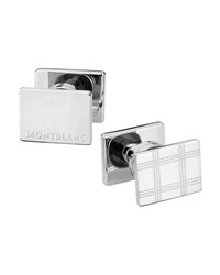 Montblanc Essential Sartorial Check Pattern Rectangular Steel Cuff Links Silver