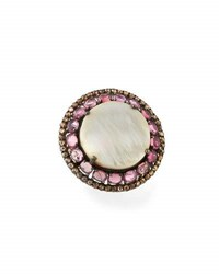 Bavna Round Mother Of Pearl Tourmaline And Diamond Cocktail Ring