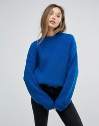 Gestuz Electric Blue Crew Neck Pullover Skydiver