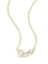 Elizabeth And James Flux White Sapphire Pendant Necklace Gold