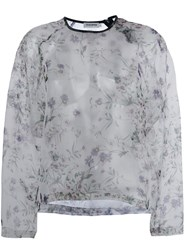 Roseanna Floral Print Sheer Top White