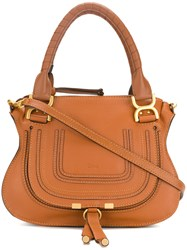 Chloe Marcie Tote Bag Cotton Calf Leather Brown