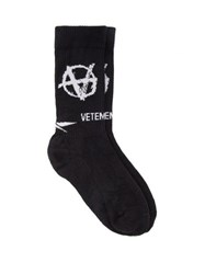 Vetements Logo Jacquard Jersey Socks Black