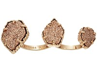 Kendra Scott Naomi Two Finger Ring Adjustable Rose Gold Rose Gold Drusy Ring