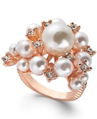 Inc International Concepts Rose Gold Tone Pave And Imitation Pearl Cluster Ring Created For Macy's